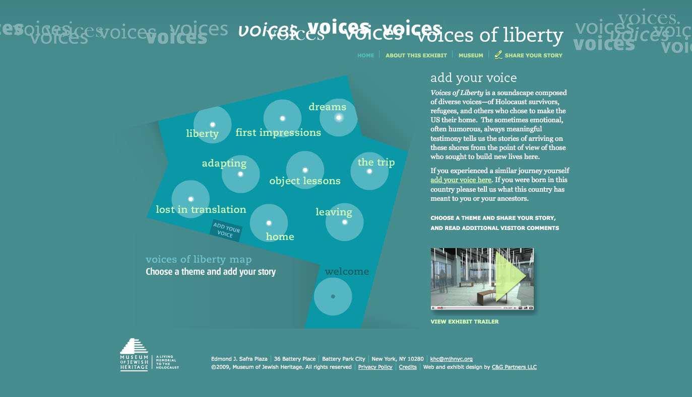 Project image 1 for Voices of Liberty Website & Kiosk, Museum of Jewish Heritage