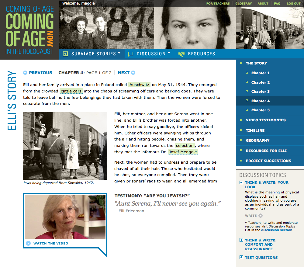 Project image 3 for Coming of Age in the Holocaust, Coming of Age Now Website, Museum of Jewish Heritage