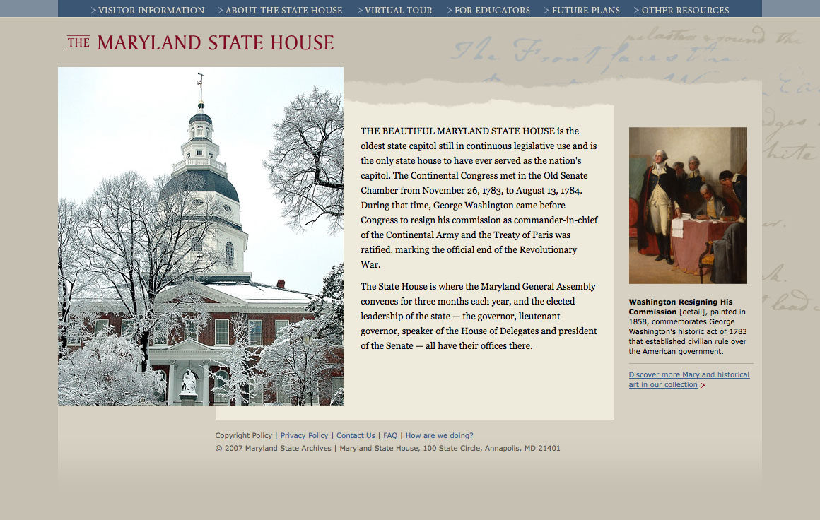 Project image 1 for Website, Maryland State House