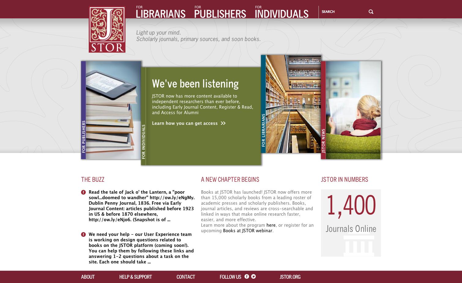 Project image 1 for Website, JSTOR
