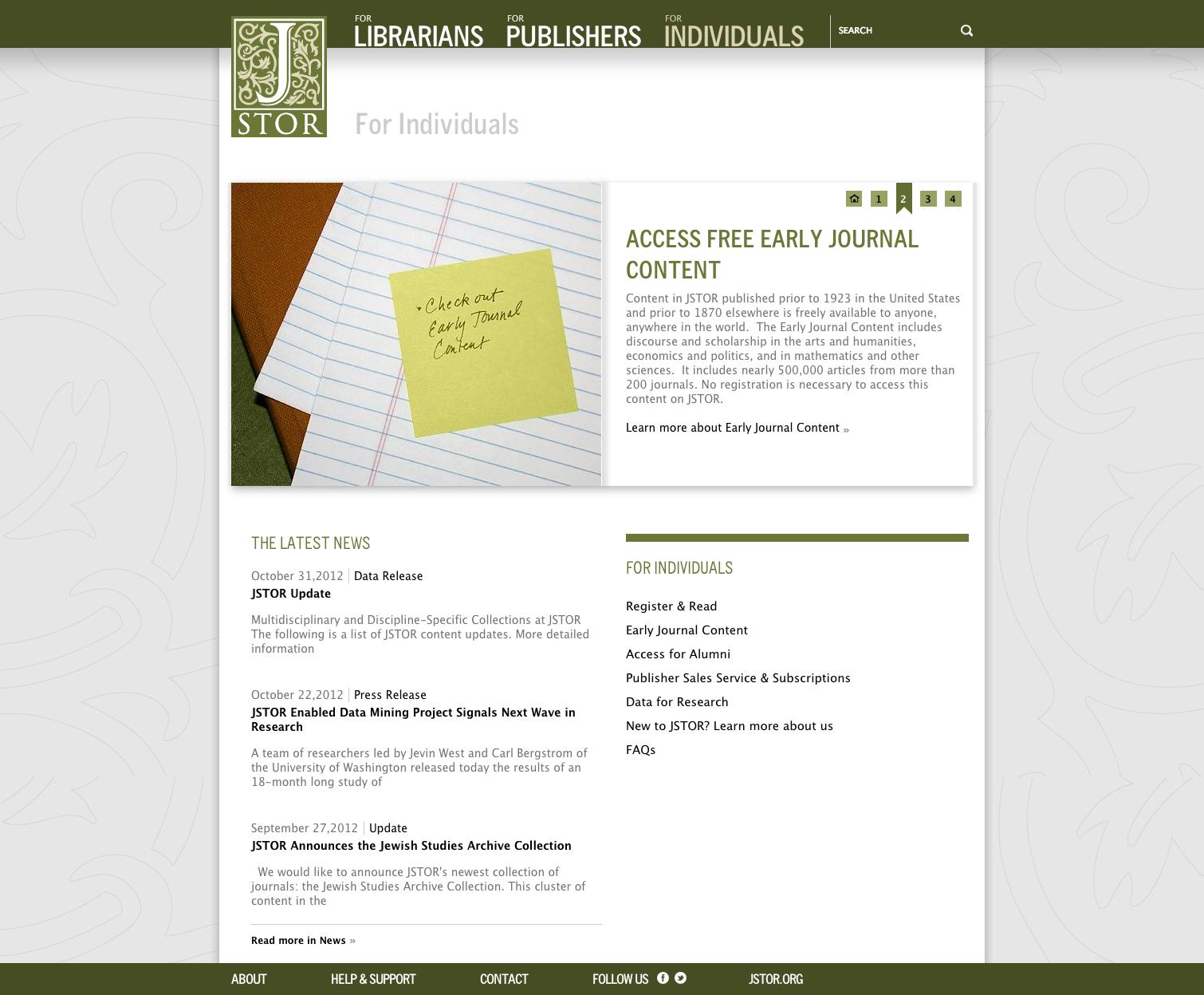 Project image 4 for Website, JSTOR