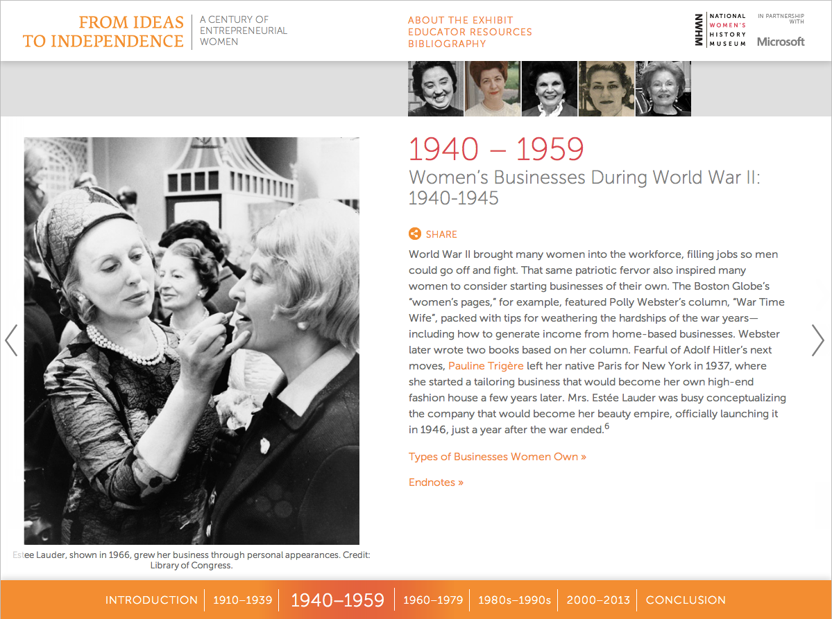 Project image 1 for From Ideas to Independence: A Century of Entrepreneurial Women, National Women's History Museum