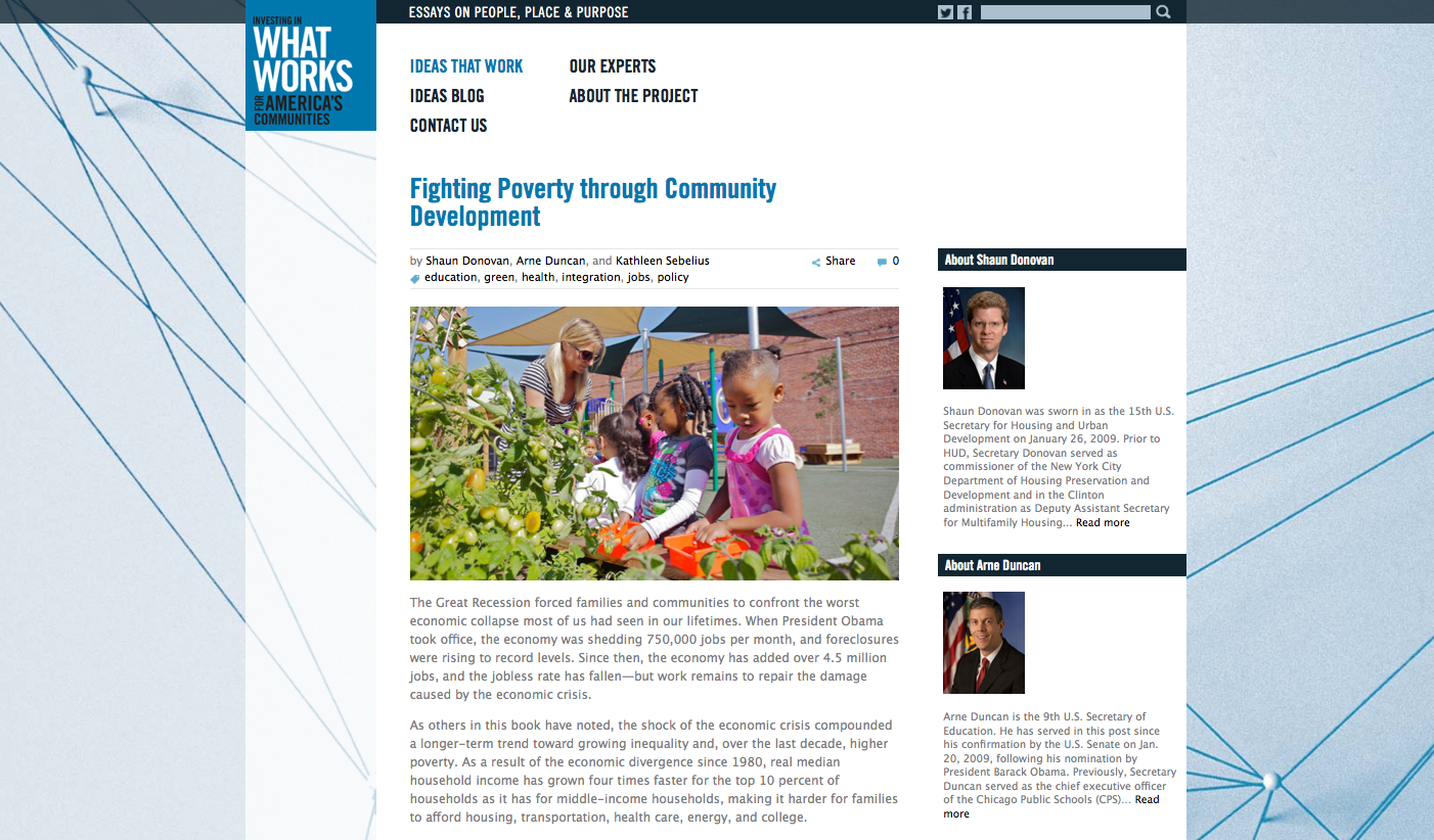 Project image 3 for Website, What Works For America's Communities
