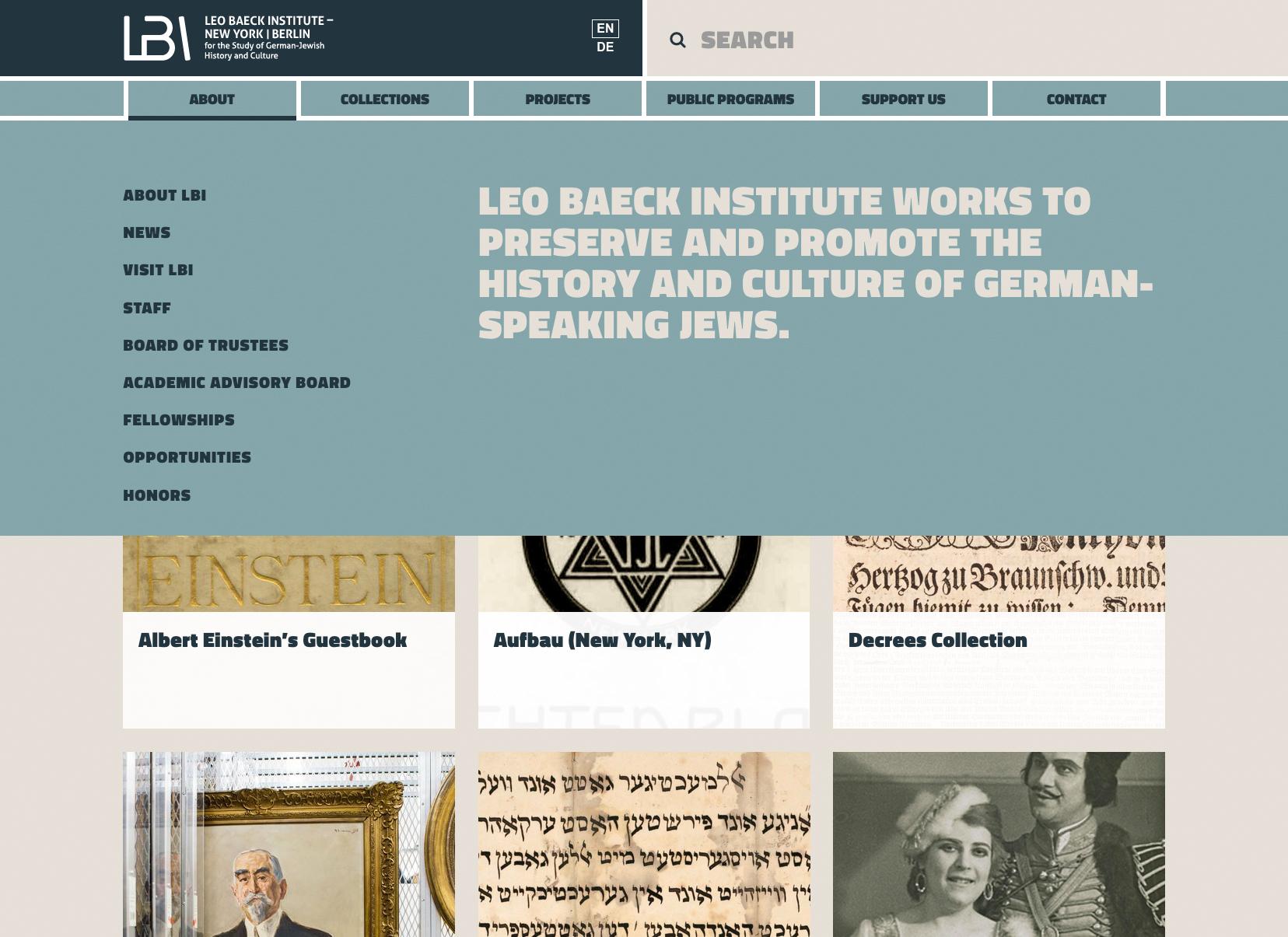 Leo Baeck Institute Web Menu